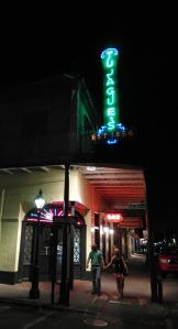 An evening stroll past Tujague's on Decatur Street.