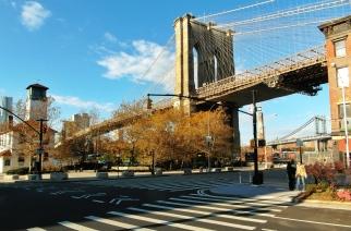 The view from below the Brooklyn Bridge near Grimaldi's Pizza.