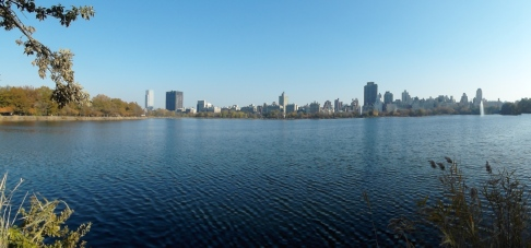 Looking west across the Jacqueline Kennedy Onassis Reservoir in Central Park.