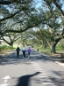 A pair of walkers and a runner make their way around Audubon Park on a trail that circles the park.