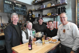 Iowans visiting New Orleans enjoy lunch at the Cochon Butcher, 930 Tchoupitoulas St. From left are Jack Rogers, Chuck Abell, Mike Klauser, Mike Girard and Mark Smidt.