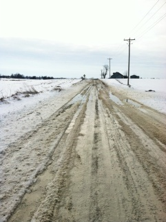 There were about 4 miles of gravel or dirt roads, and the warming temps turned them into a soupy mess.