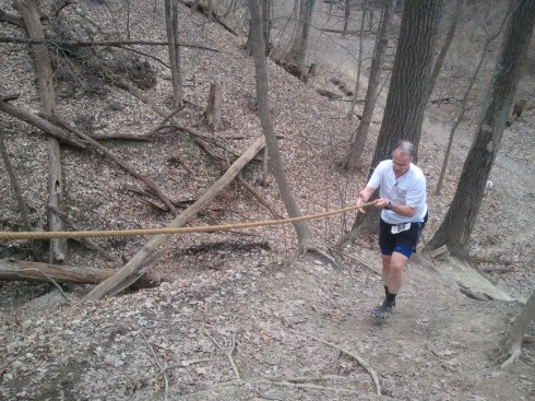 Barb shot this photo of me starting a climb in the Potawatomi Trail 50 mile run.