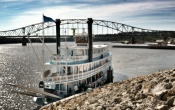 "The riverboat ""Twilight"" prepares to cruise from her dock in Dubuque, Iowa, to Le Claire, Iowa, on the return leg of a two-day trip."