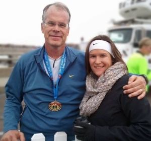 After the race, I pause to get congratulations from daughter Laura. Laura and my wife, Barb, shadowed me throughout the race, supplying me with my endurance drink, a home-made mix of maltodextrin.