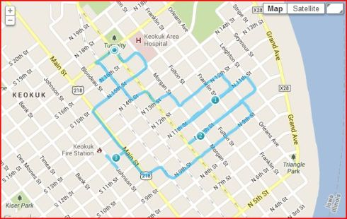 I added a little variety to my Thanksgiving run in Keokuk, Iowa, by creating a GPS drawing of a turkey. I used the Endomondo running app to track the run.
