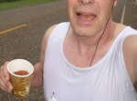 Perhaps one of the world's worst and least flattering selfies, but what do you expect when you are taking a picture of yourself while drinking a Bloody Mary at mile 16 of a marathon?