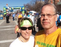 Barb and I pause for photo just past the finish line of the Go St. Louis Half Marathon on Sunday, April 6, 2014.