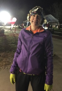Barb can still manage a smile after completing her first 50-miler!