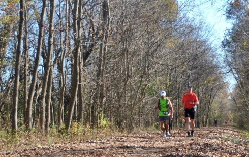 Dave Rogers, left, and I near Vienna, Ill., after completing 26 miles of the Tunnel Hill 100.