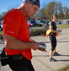 I refilled my bottles and picked up Barb at the start-finish line at mile 26.